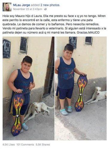 Postagem de Mauco trazia fotos mostrando o skate que ele tentava vender o cão que o menino queria ajudar. (Foto: Reprodução / Courtesy photo)