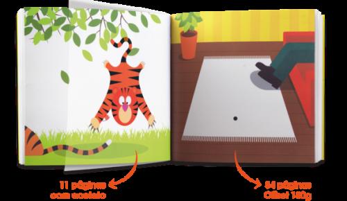 As ilustrações e folhas de acetato transparente permitem o jogo de imagens e movimento. (Foto: Divulgação / Carochinha Editora)