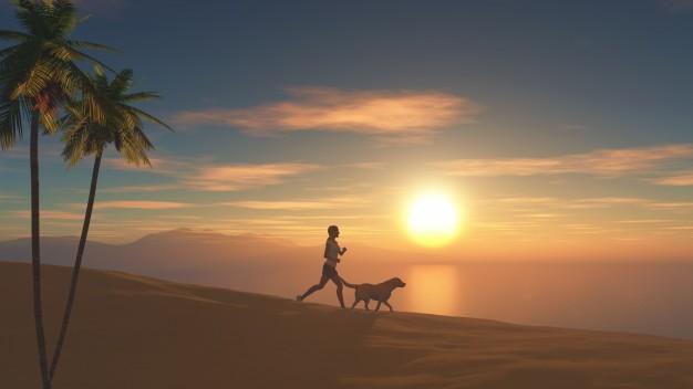correr com o cachorro